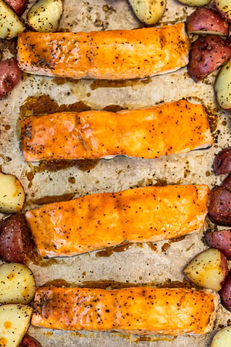 maple glazed salmon on sheet pan