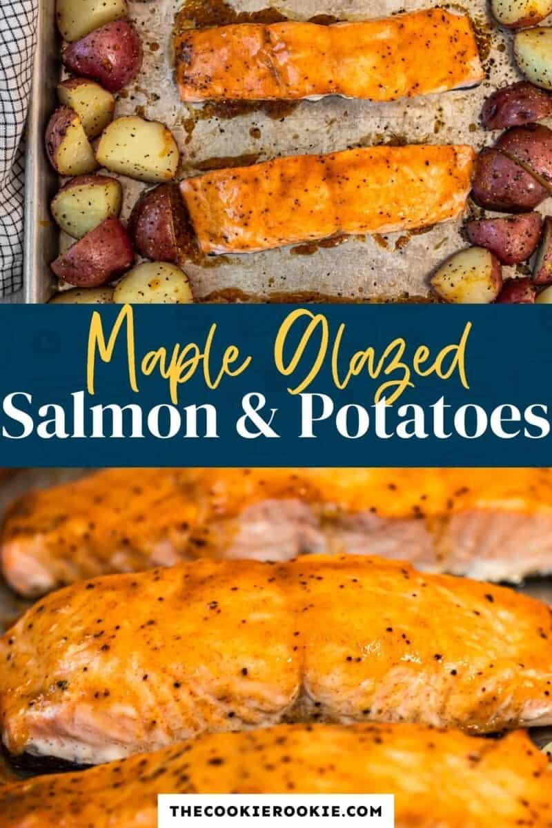 maple glazed salmon pinterest collage