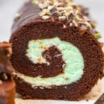up close inside of swiss roll with mint chocolate