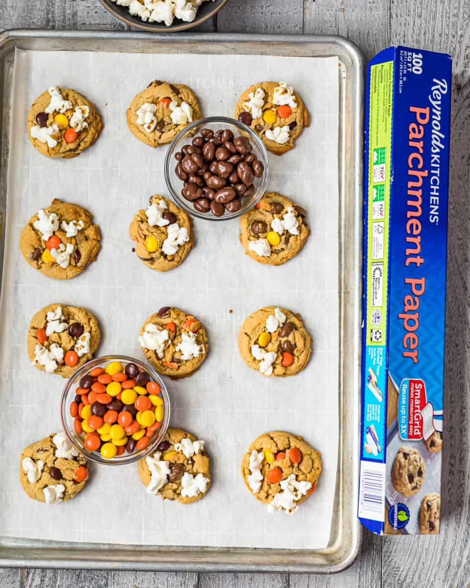 movie night cookies next to parchment