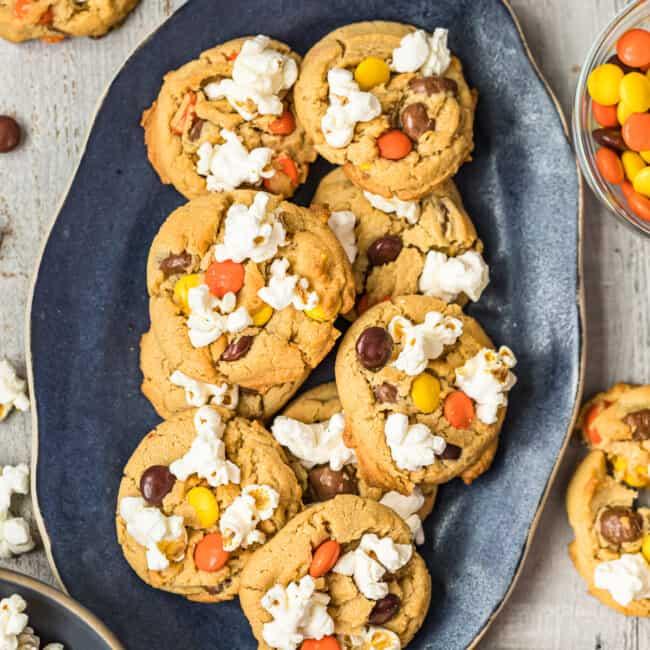 movie night cookies on platter