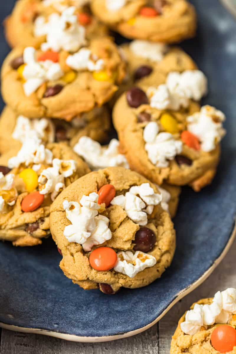 up close image of movie night cookies with popcorn and reese's pieces