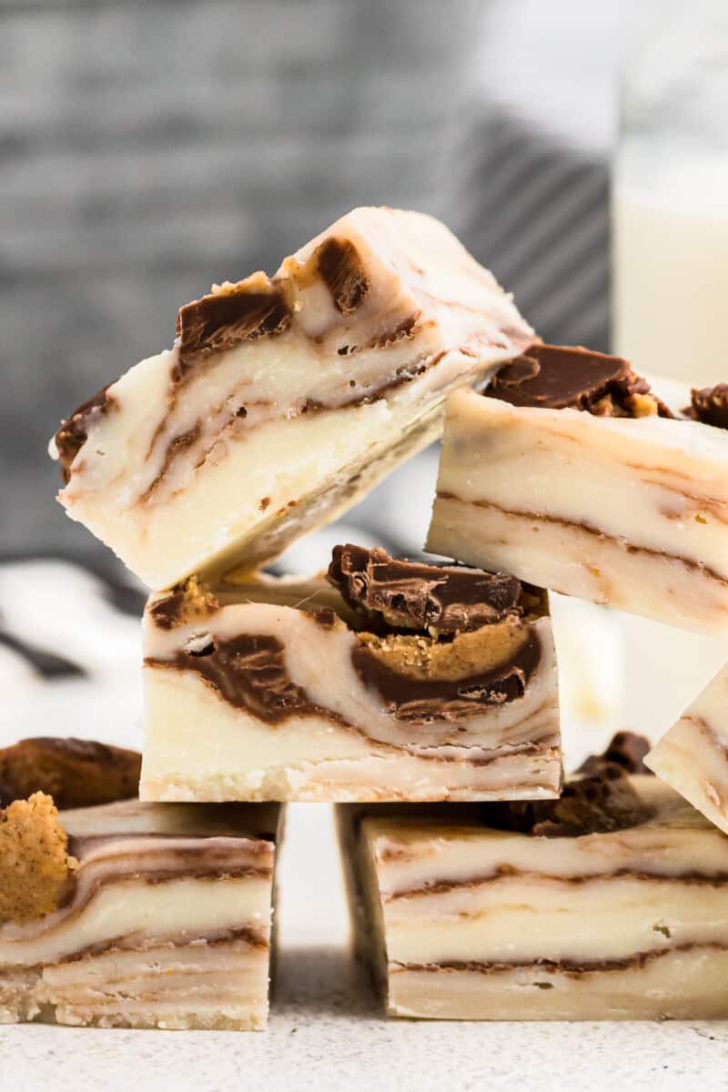 up close image of peanut butter cup fudge