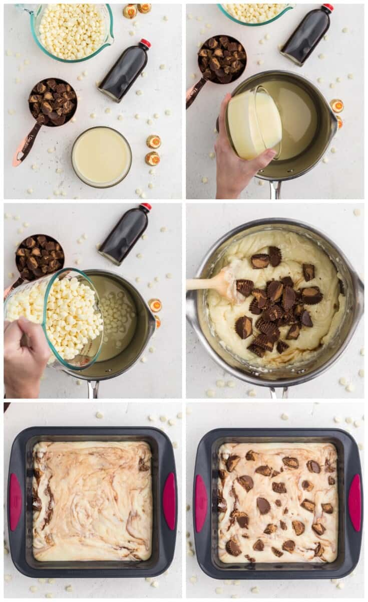 step by step photos of how to make peanut butter cup fudge