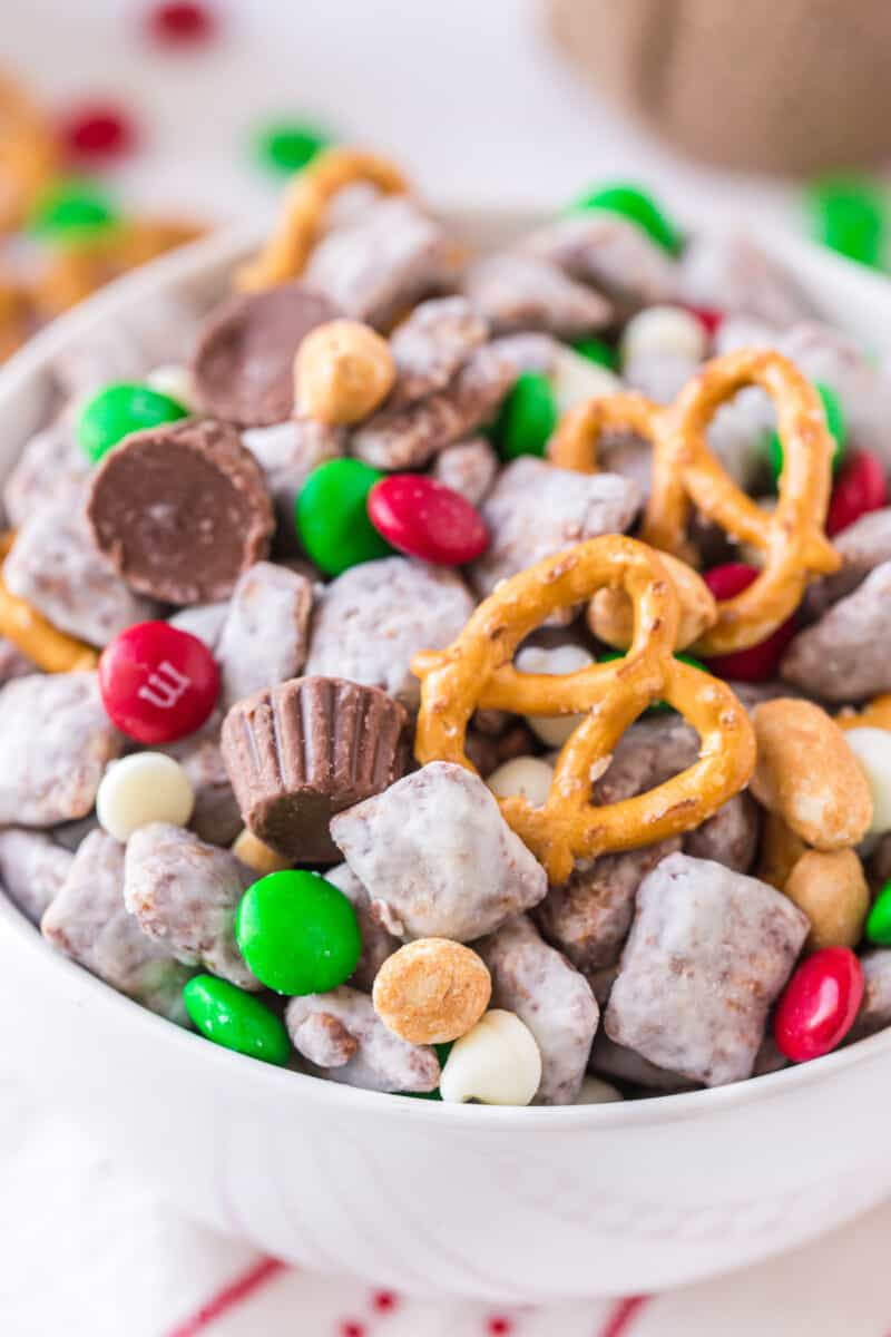 up close image of christmas reindeer food snack mix