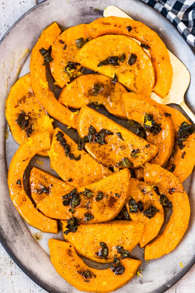 up close roasted butternut squash with sage