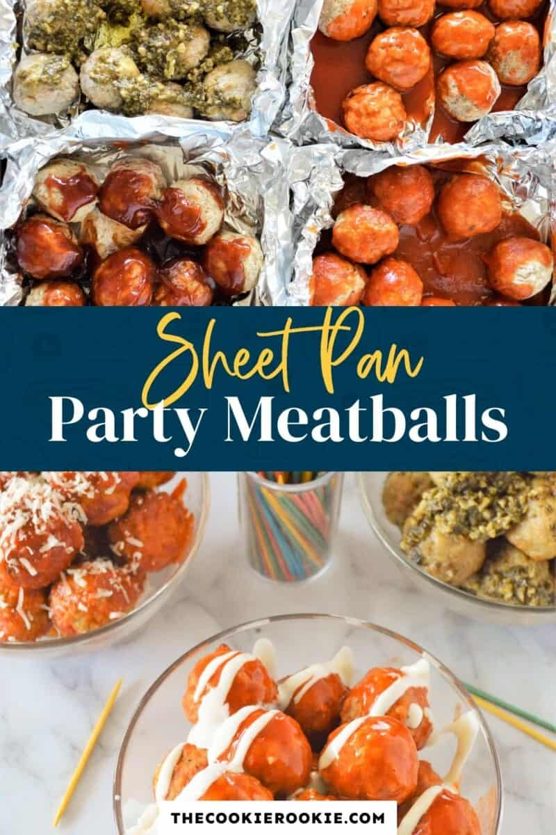 sheet pan party meatballs pinterest collage