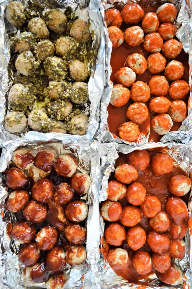 sheet pan party meatballs with different sauces