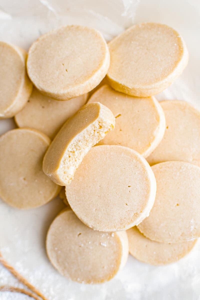 shortbread cookies on parchment