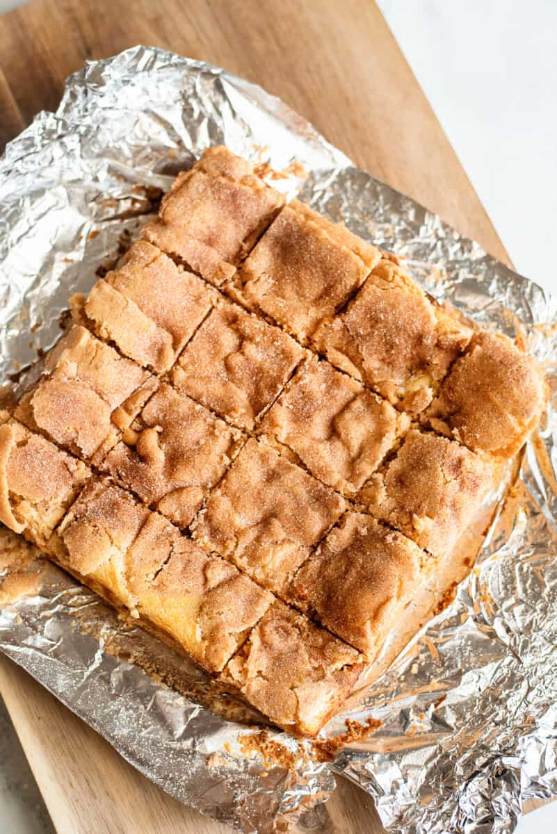 cut snickerdoodle cheesecake bars