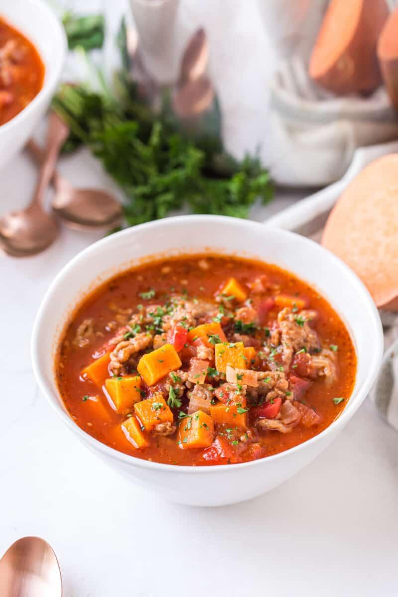 white bowl of sweet potato chili