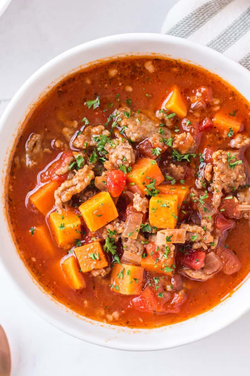 up close bowl of sweet potato chili