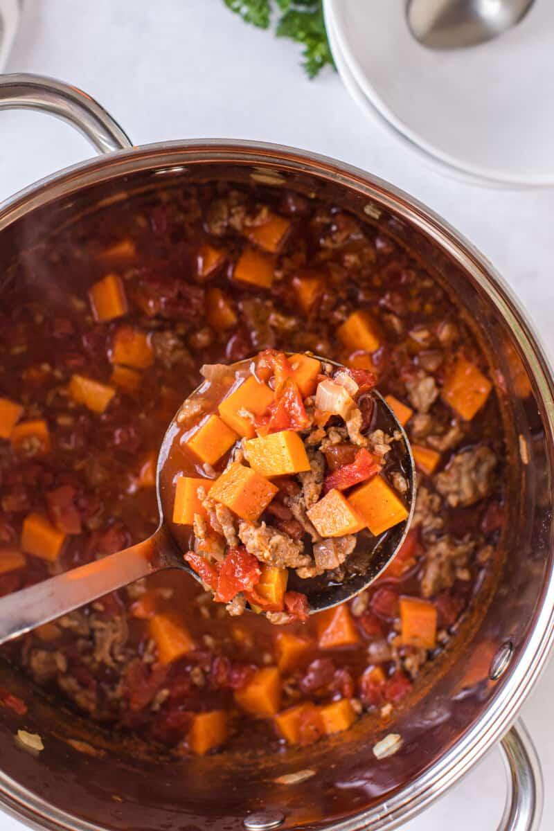 pot of sweet potato chili