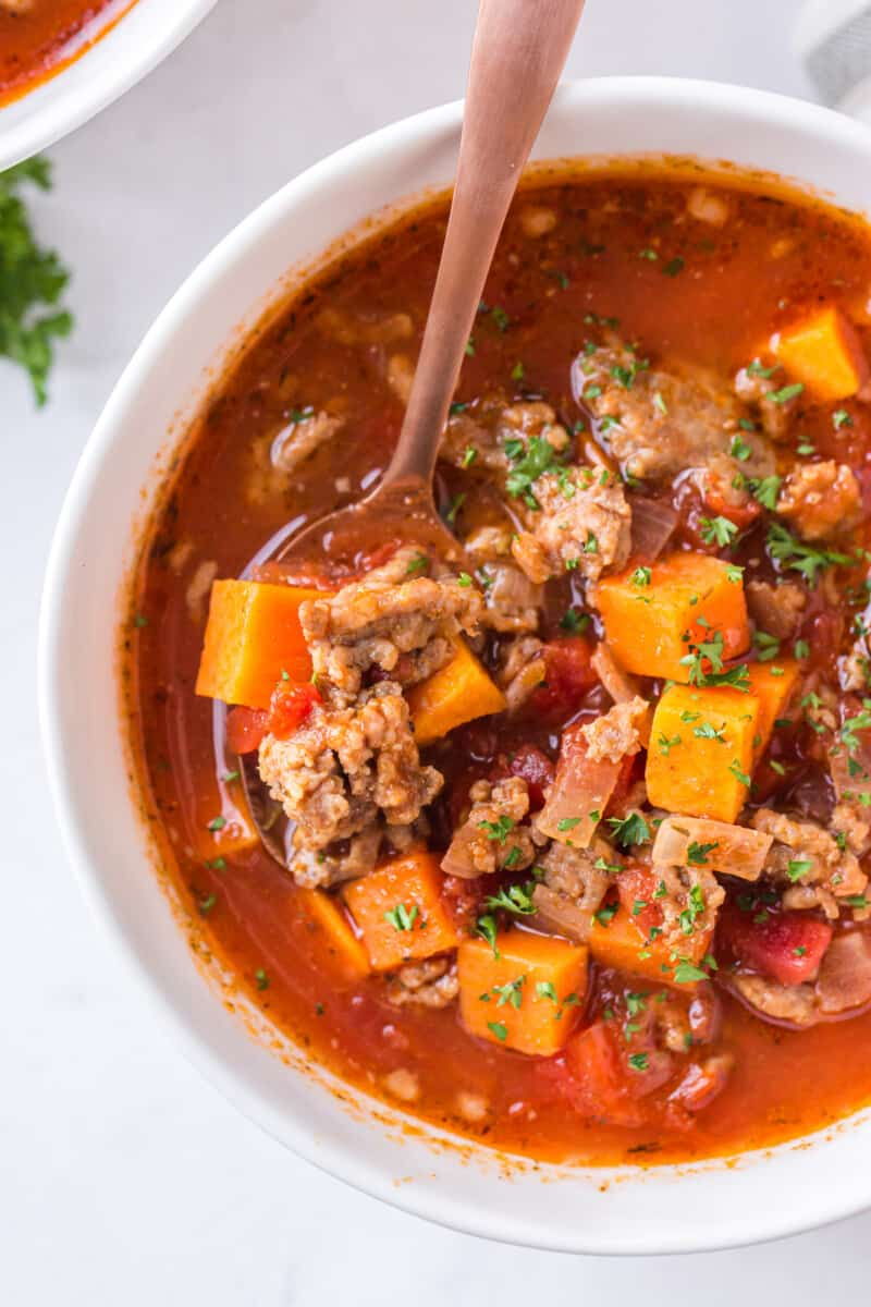 bowl of sweet potato chili with spoon