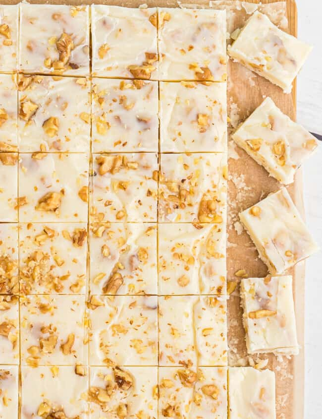 sliced white chocolate rum fudge