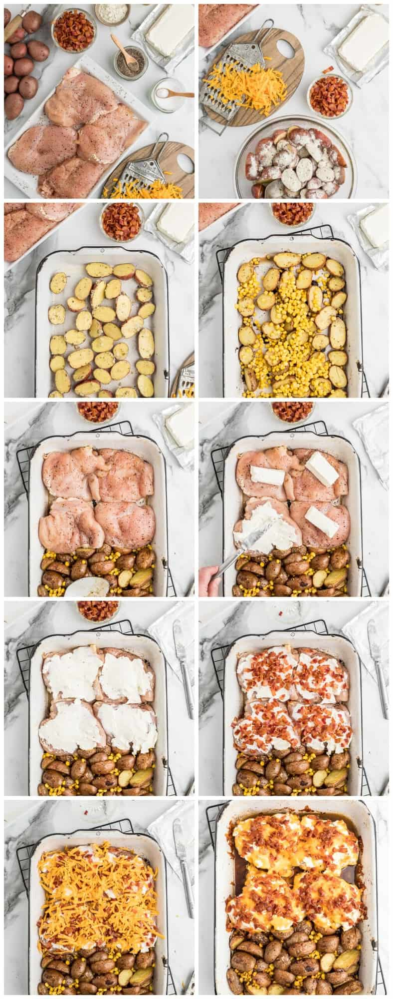 bacon crusted chicken step by step process shots