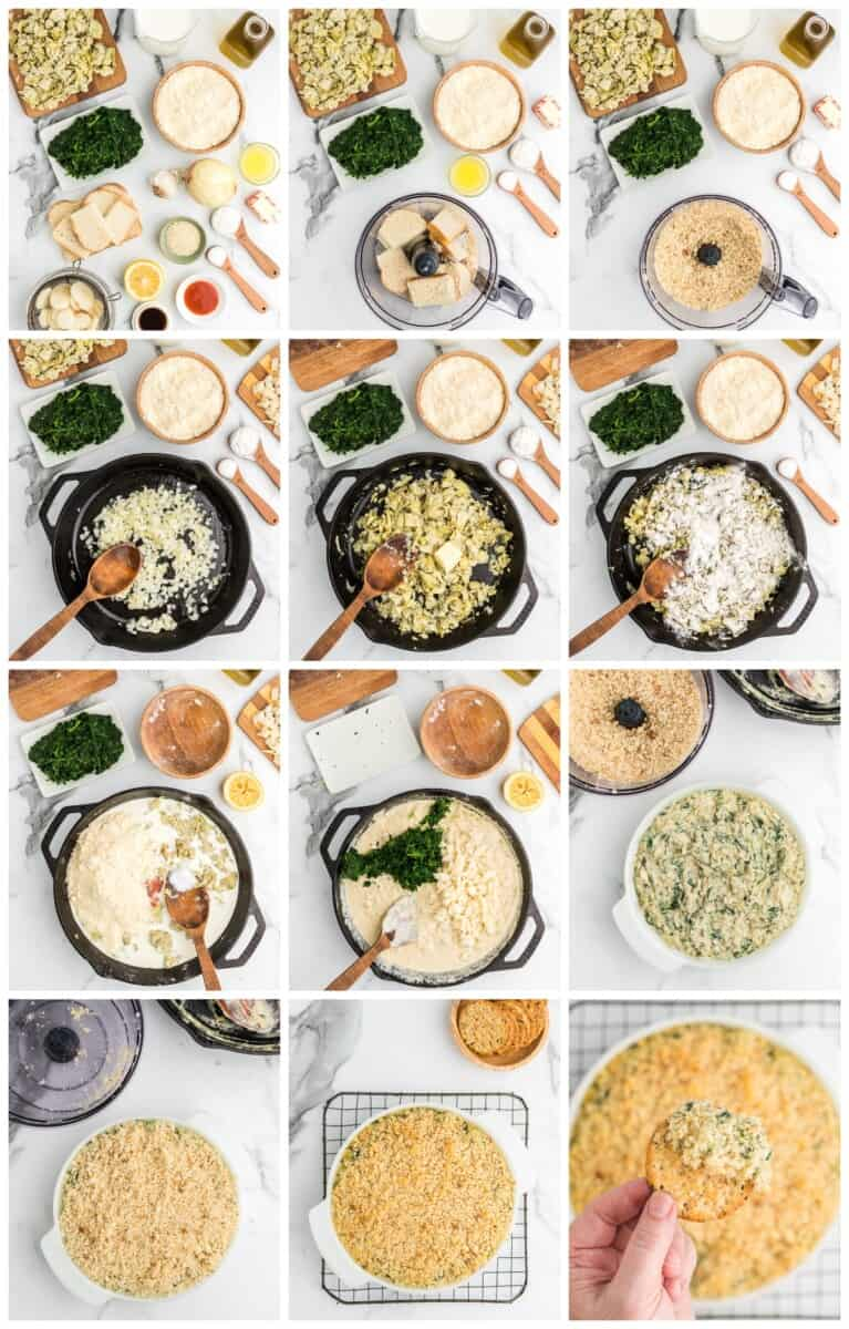 baked spinach artichoke dip step by step process shots