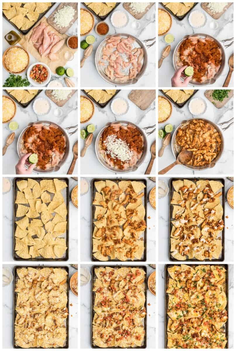 chicken nachos step by step process shots