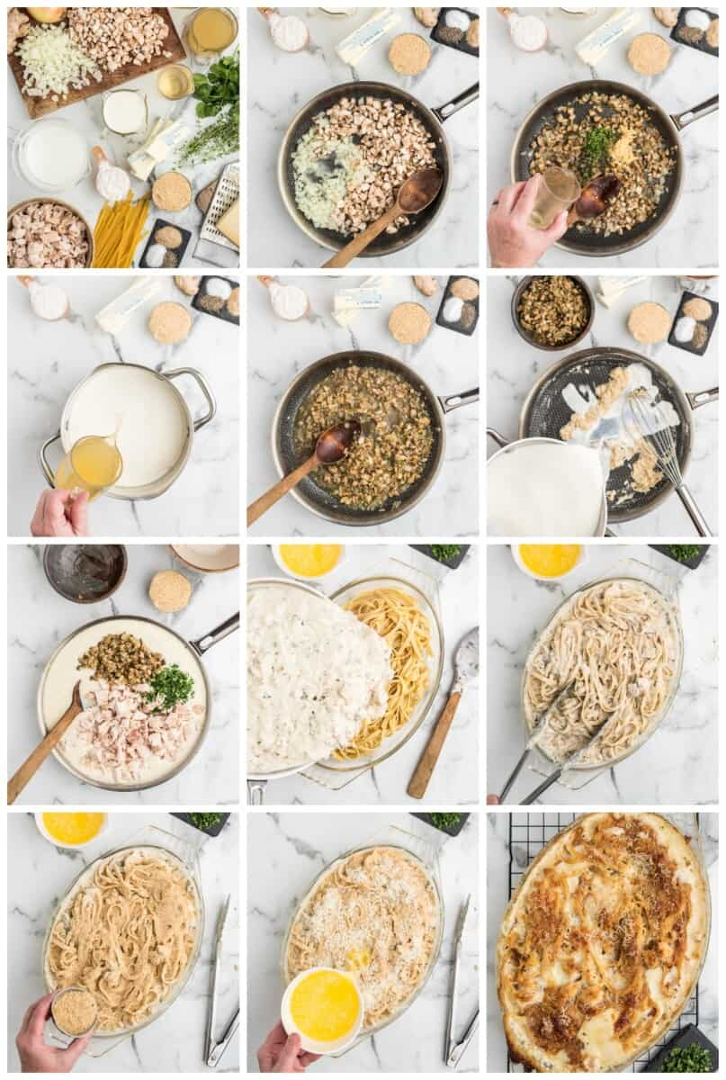 chicken tetrazzini step by step process shots