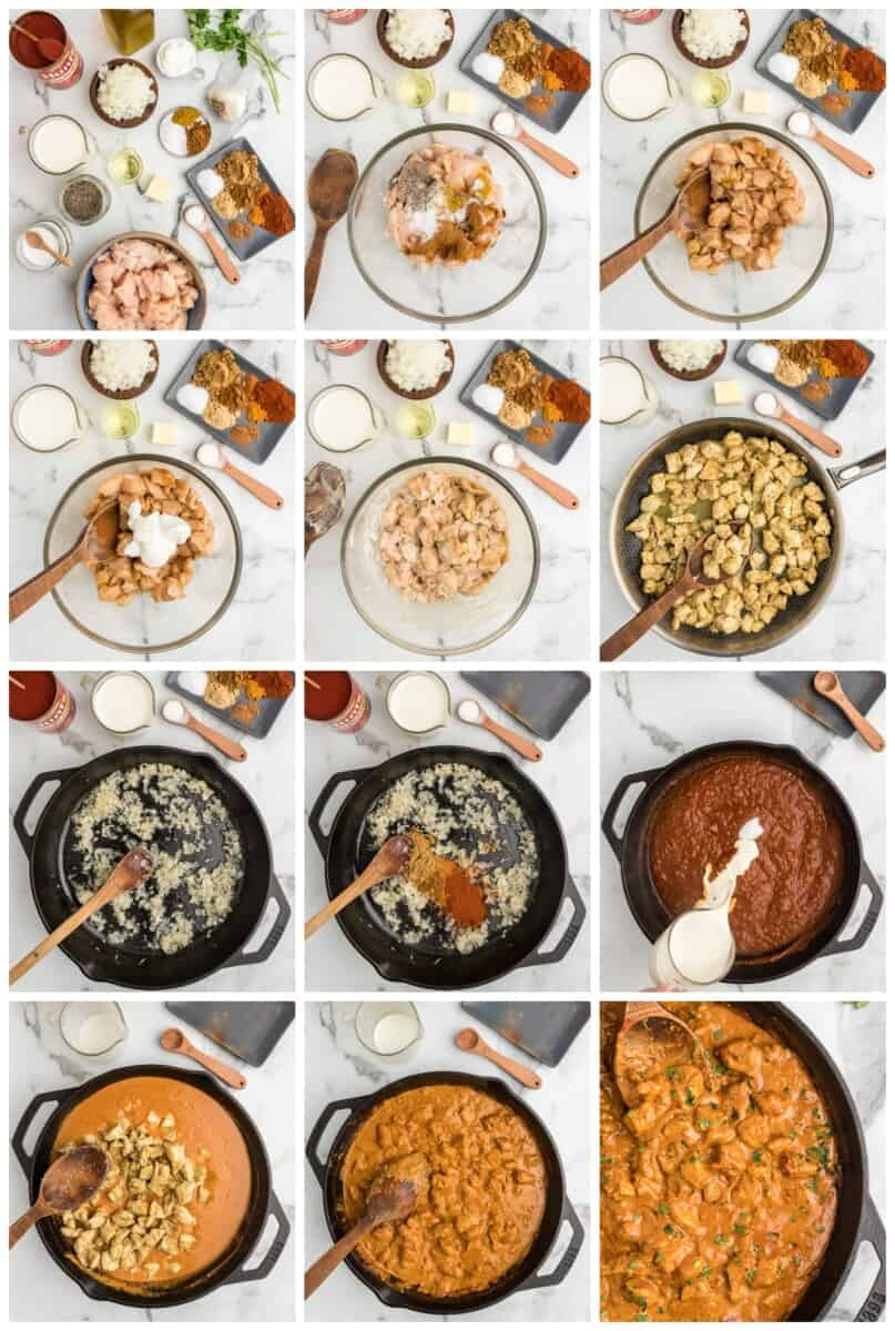chicken tikka masala step by step process shots