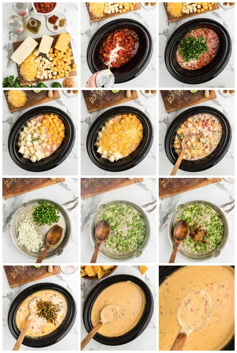 crockpot queso step by step process shots