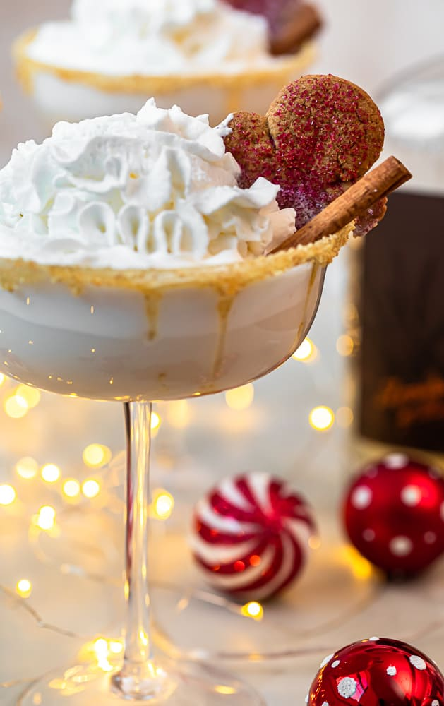 up close gingerbread martini with whipped cream