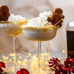 3 gingerbread martinis with christmas decorations
