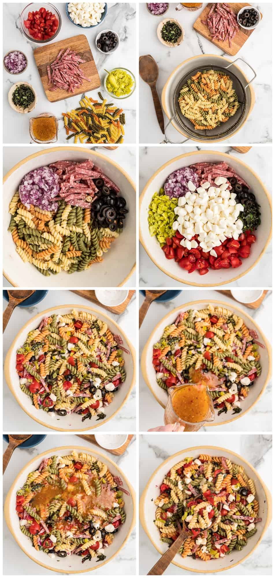 italian pasta salad step by step process shots