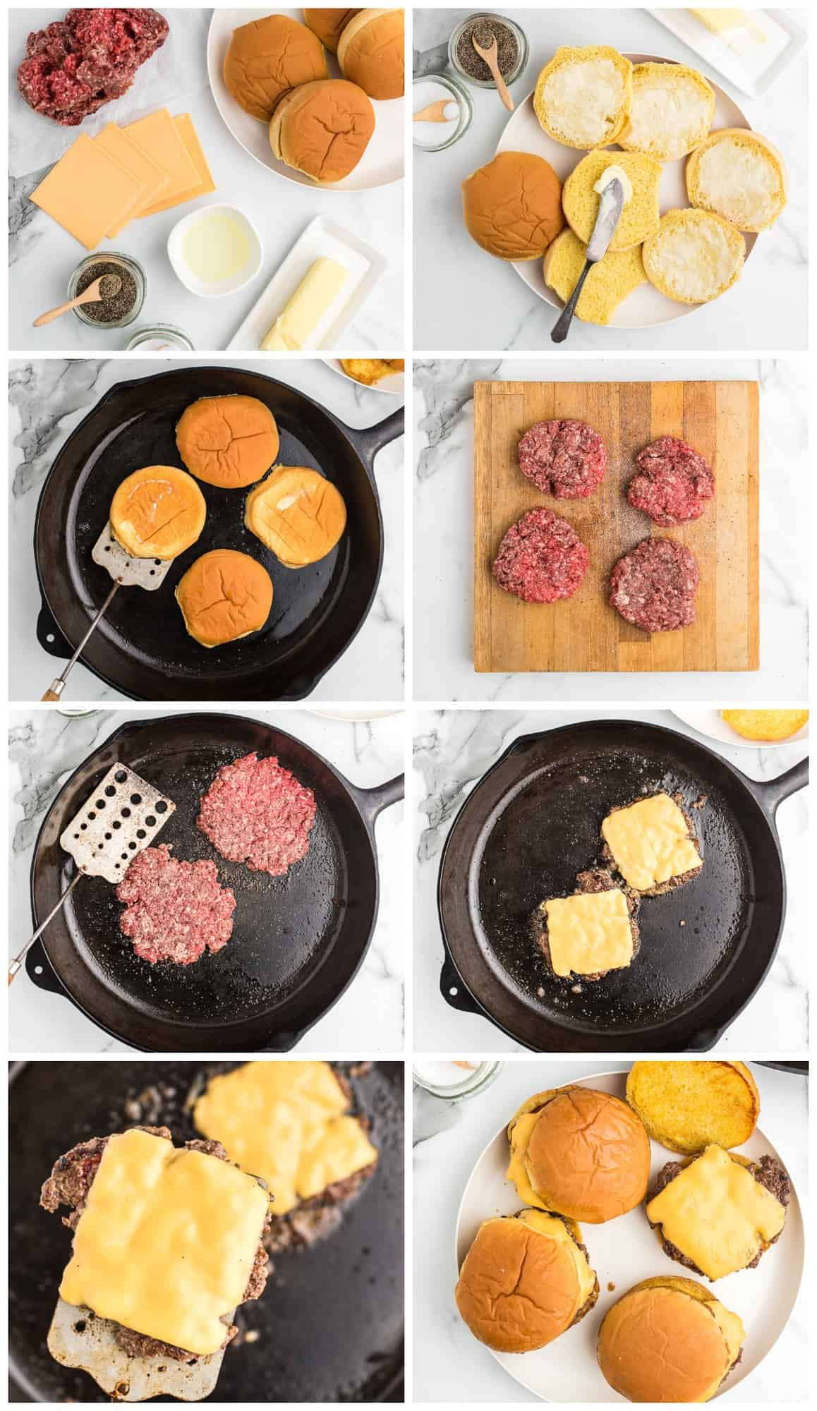 smash burgers step by step process shots