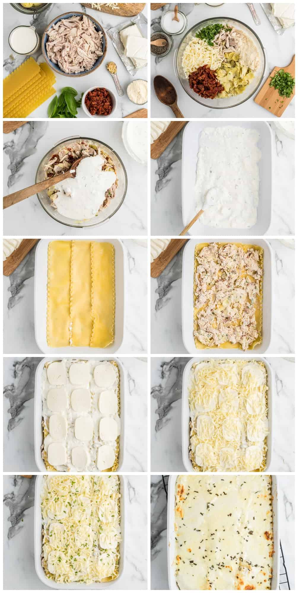 white chicken lasagna step by step process shots
