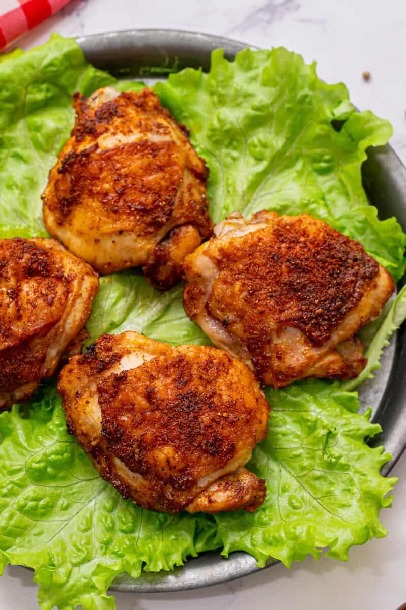 air fryer chicken thighs on lettuce