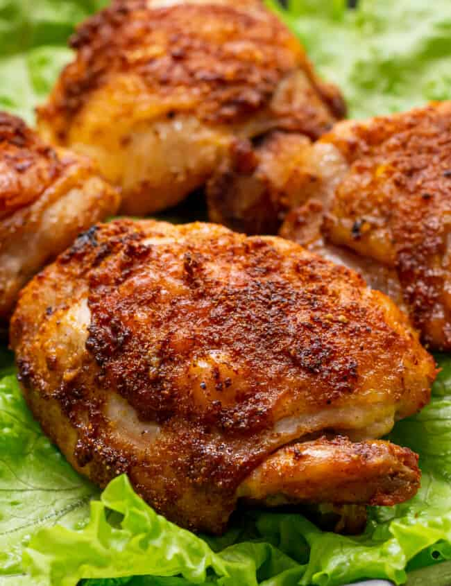 up close chicken thigh cooked in air fryer