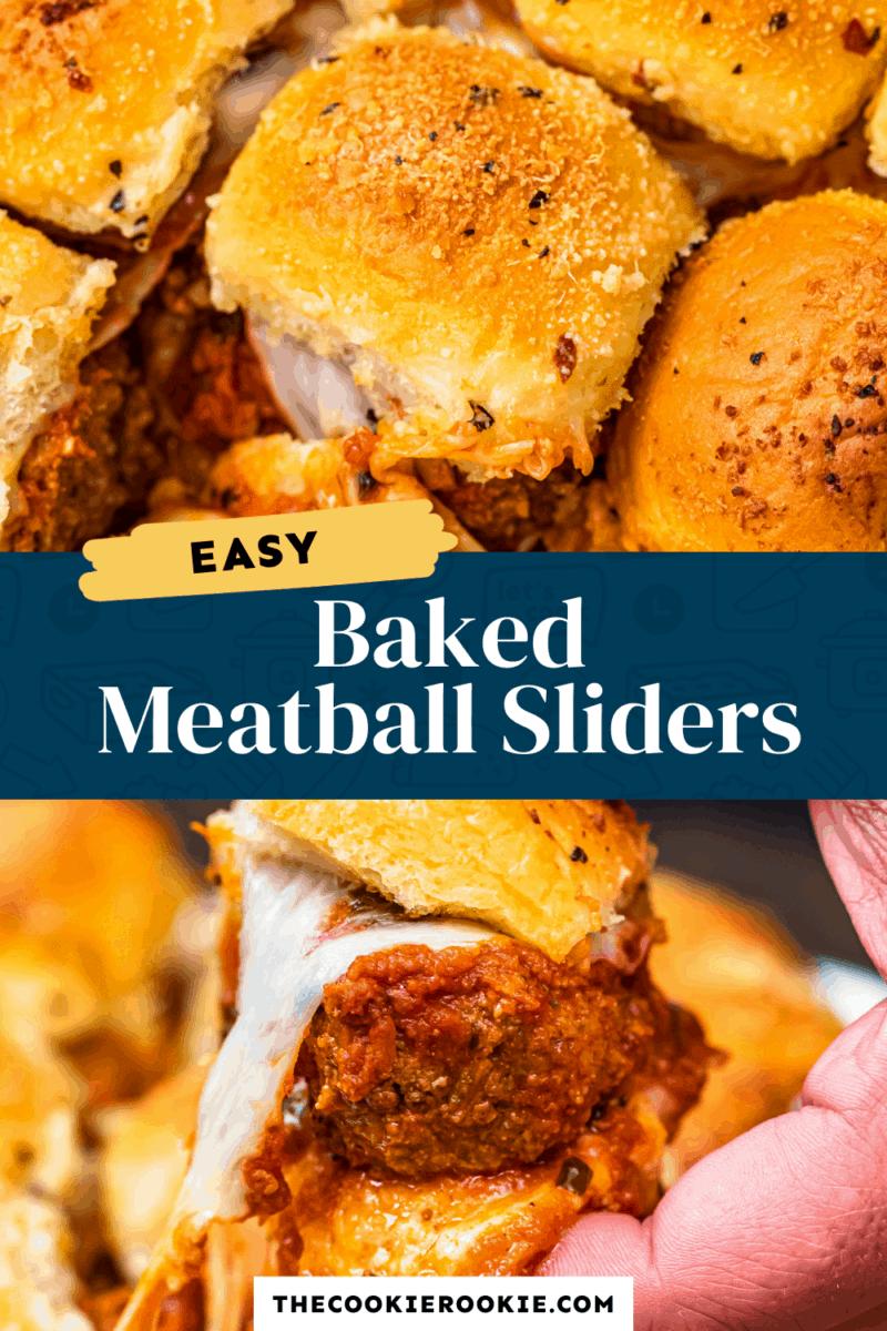 baked meatball sliders pinterest collage