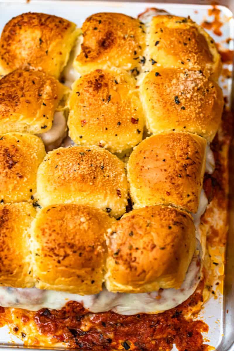 baked meatball sliders in pan