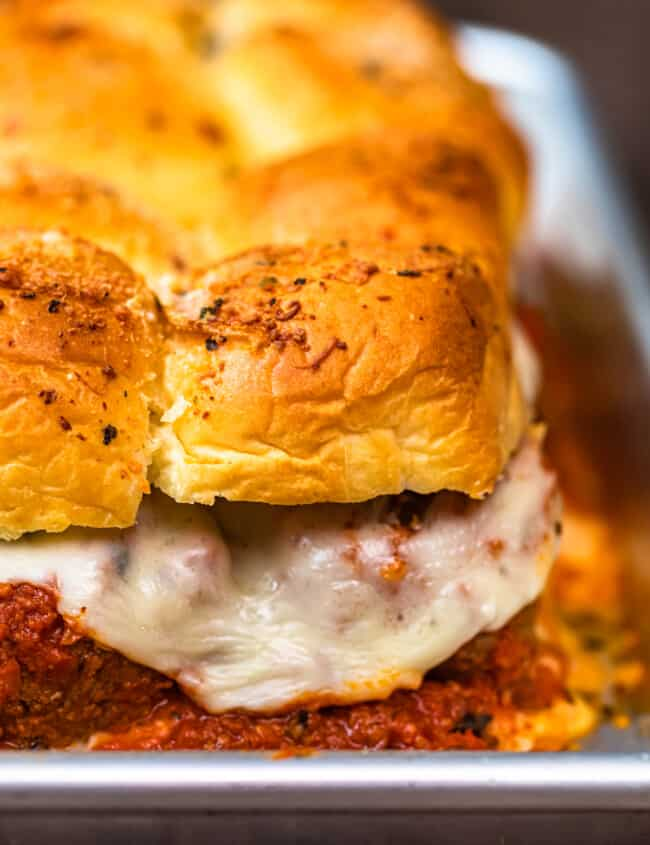 baked meatball sliders in pan
