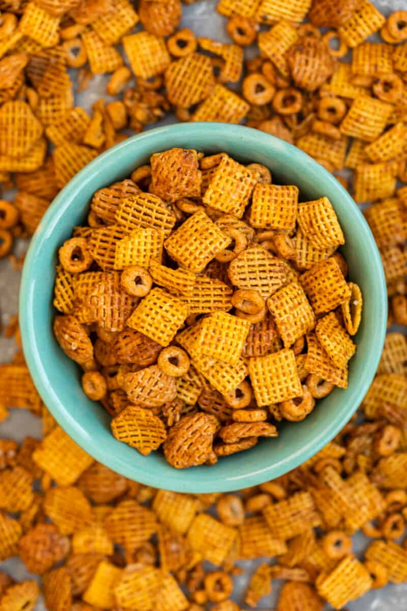 BBQ chex mix in green bowl