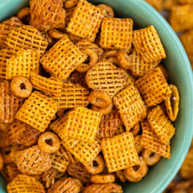 BBQ Chex Mix in bowl on table