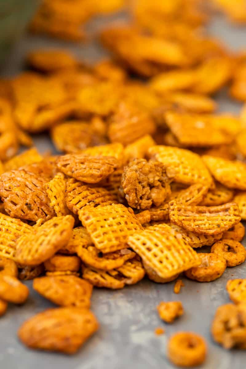 BBQ Chex Snack Mix spread out on table