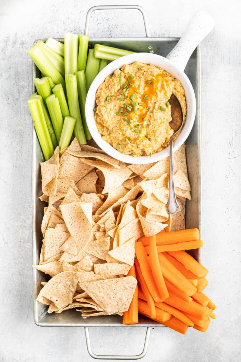 Spread with buffalo chickpea dip.