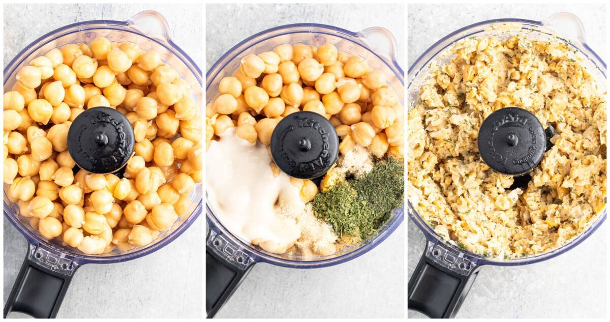 How to make buffalo chickpea dip, side by side food processor shots.