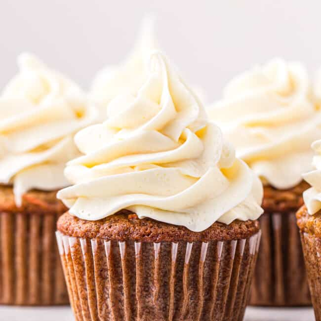 carrot cake cupcakes with cream cheese icing