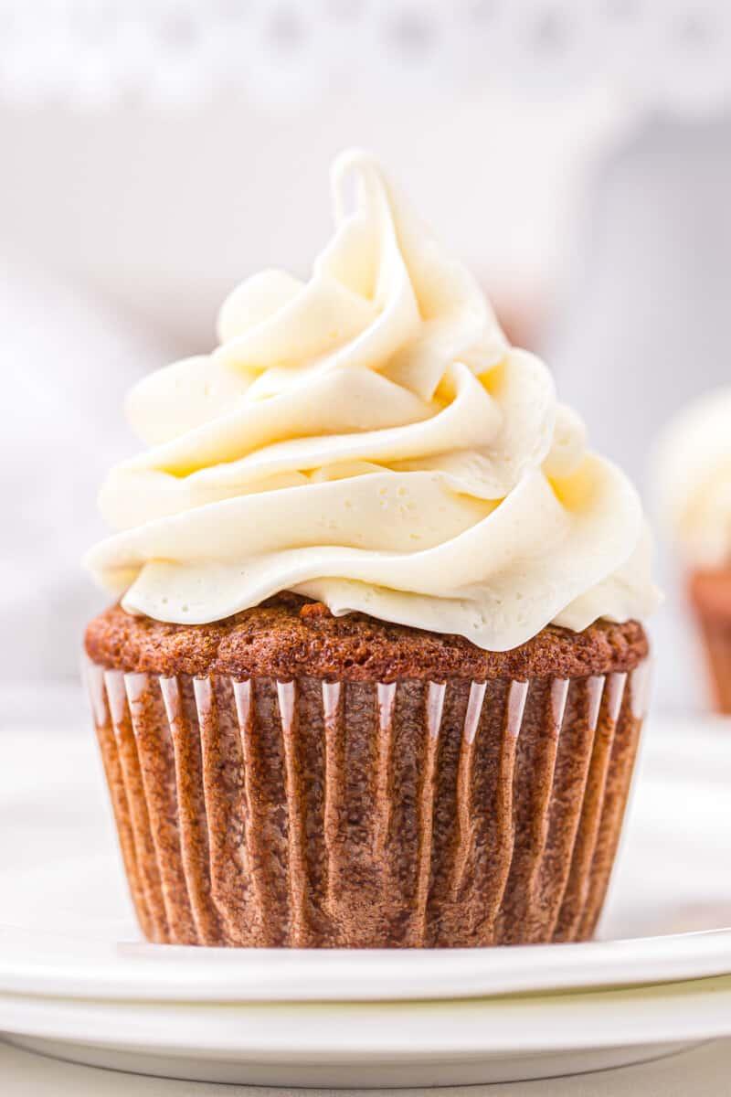 up close carrot cake cupcake