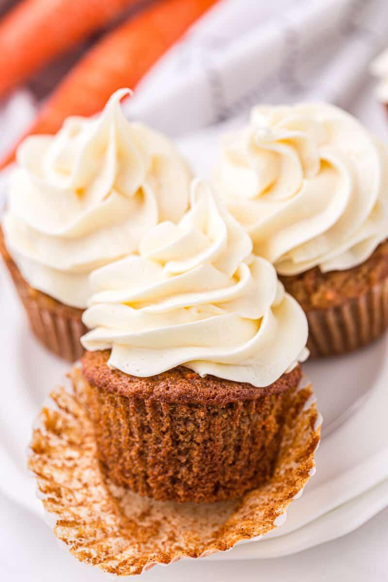unwrapped carrot cake cupcake