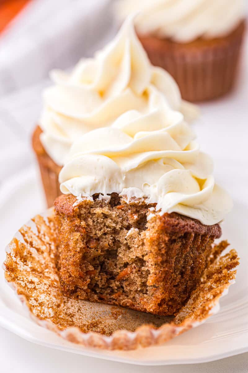 unwrapped carrot cake cupcake with icing