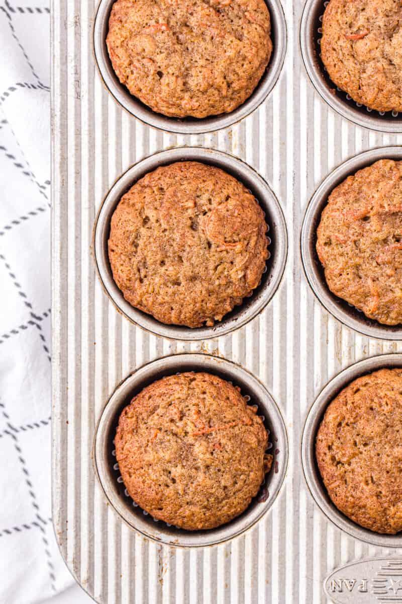 carrot cake cupcakes in cupcake tin