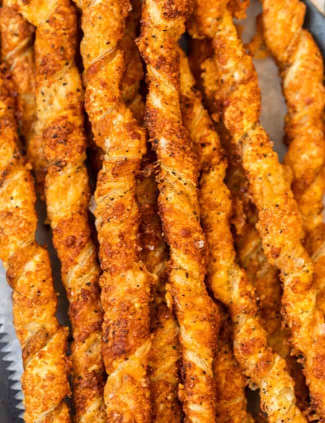 twisted cheese straws on platter