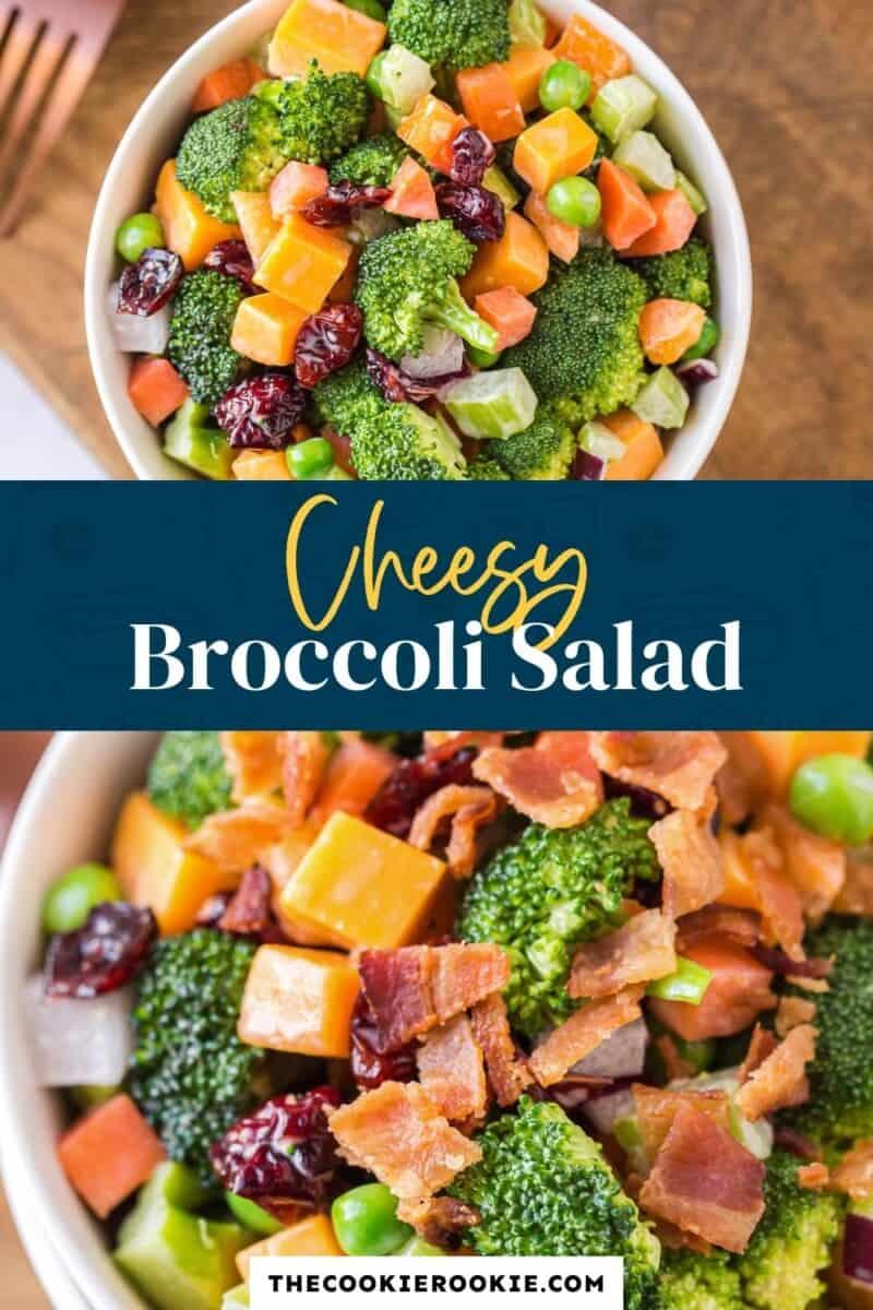 cheesy broccoli salad pinterest collage