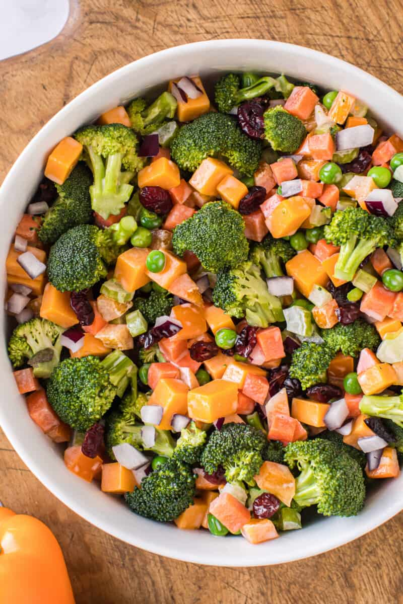 large bowl with cheesy broccoli salad