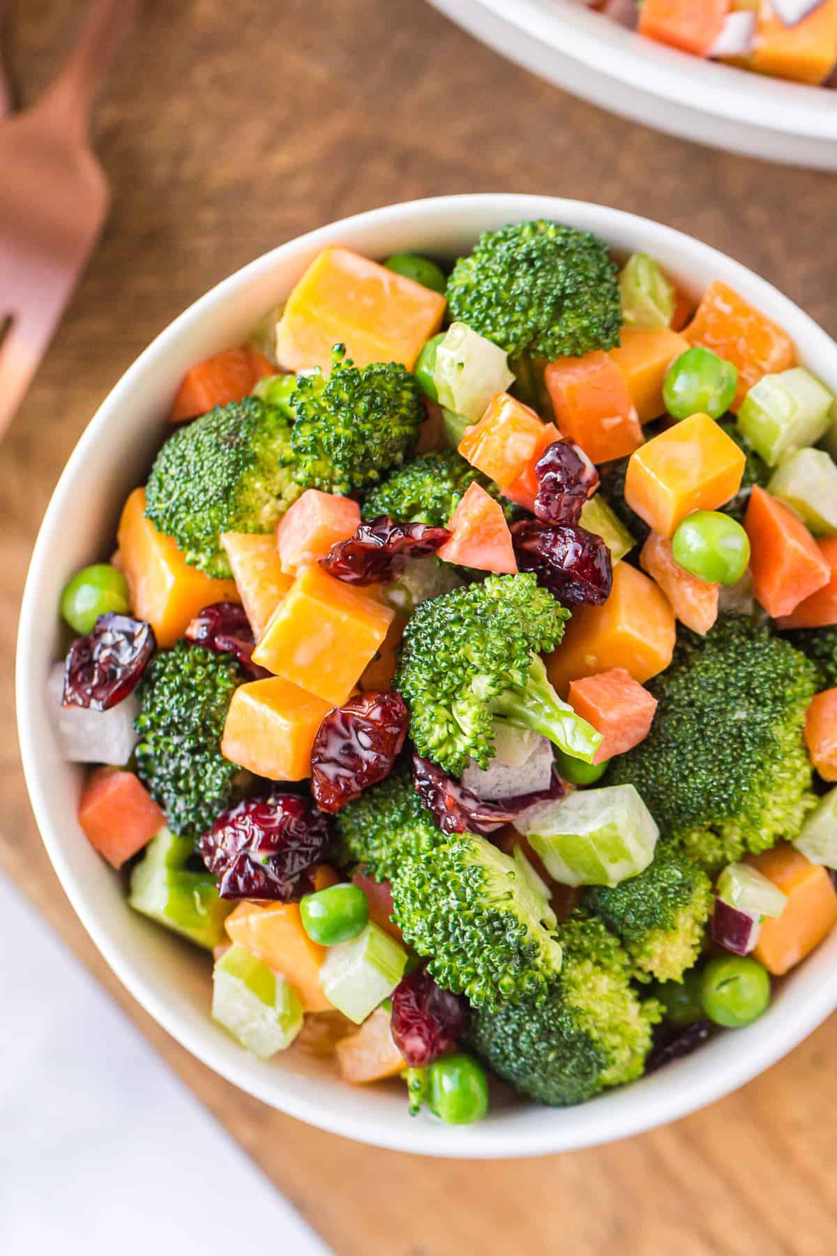 bowl with cheesy broccoli salad
