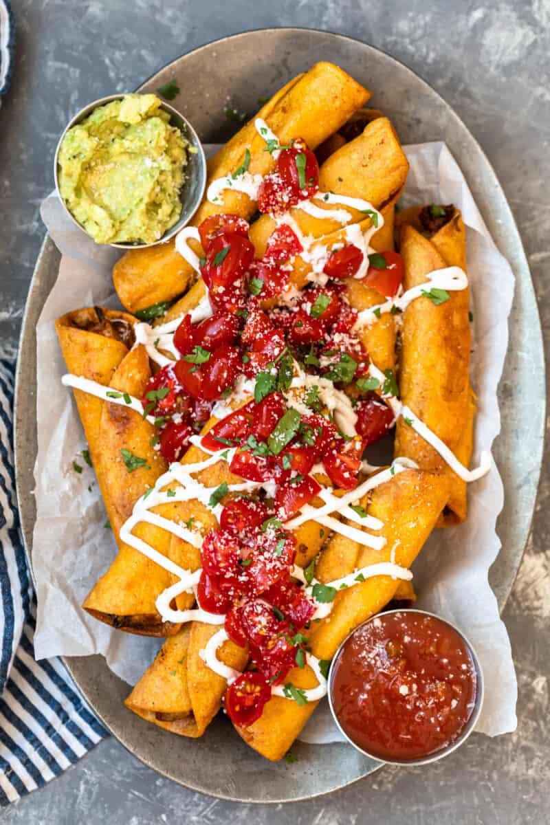 chicken taquitos on platter